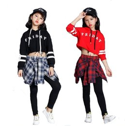 Wholesale Pants Dance Clothing - Teens Girls Two Piece Set Long Sleeve Children Crop Tops And Plaid Skirt Pant Kids Hip Hop Dance Clothes Girls Children Spring