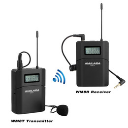 Videocámara de micrófono online-MAILADA WM8 Profesional UHF Sistema de Micrófono Inalámbrico Lavalier Micrófono de Solapa + Transmisor para Grabadora de Videocámara F1431