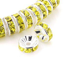 cuentas sueltas de cristal amarillo Rebajas 100Pcs Rhinestone Rondelle Spacer Beads Round Metal Silver Tone Lemon Yellow Czech Crystal Charm Beads sueltos para hacer joyas
