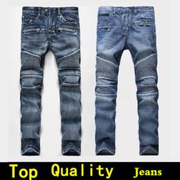 black pants red stripe 2018 - Mens jeans Men Designer jeans Distressed Motorcycle biker Rock Revival jeans size 42 Tight Skinny Ripped Straight Hip Hop Men's true pants