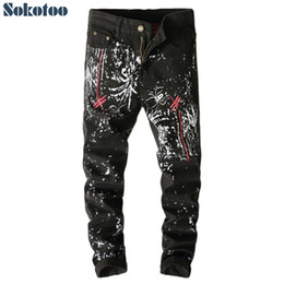 Wholesale Dragonfly Painting - Wholesale-Sokotoo Men's fashion dragonfly embroidery printed jeans Black slim-fit painted long pants