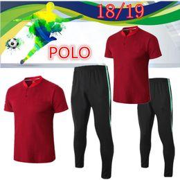 365c3fe94db2b 2019 polo wear Top Qualidade 2018 19 Equipe Nacional de Futebol Desgaste  POLO Camisa Set