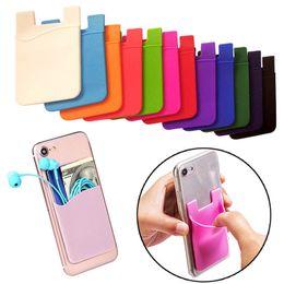 taschen-karten-handy Rabatt Silikon-Kartenhalter für Handy Tasche Aufkleber Handy Brieftasche Fall Kredit ID Kartenhalter Pocket Stick auf 3M Kleber AAA992