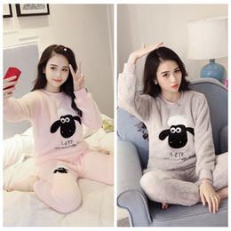 Wholesale Korean Sleepwear - Ladies Sleepwear Fabric Korean Pajamas Sets Female Pink Gary Thick Flannel Long Sleeve Pyjama Sleepwear Sleepsuit Winter Warm