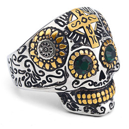Wholesale Fingers Crossed - Skull Cross Ring Retro Cool Band Rings Shinning Mr Skell Head Designer Jewelry Punk Biker Pure 316L Stainless Steel Finger Ring For Men