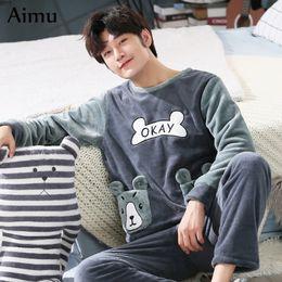 a3ad391ded plus size 3XL 4XL 5XL men pajamas Winter Flannel Pajama Set Coral fleece  Thicken casual Homewear warm sleepwear Boys pijama set