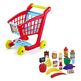 Wholesale Mini Supermarket Cart - Kids Simulate Supermarket Shopping Cart Trolley Pretend Play Toys Set Children Mini Plastic Trolley Play Toy Gift For Children