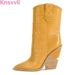 67755ed2432c Strange Style High Heel boots Pointy toe Punk long booties women Wedge Wood  grain Slip on snake pattern Ankle Boots for Women