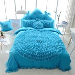 Wholesale White Lace Bedding Sets - 100% Cotton Blue Bedding Set Floral Quilt Cover Duvet Cover Pillowcases Bed Skrit Queen King Size Soft High Quality Korean Style