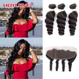 2020 encierro del pelo rizos sueltos Indian Loose Wave 13X4 Ear to Ear encaje frontal cierre con paquetes India Loose Curl Virgin cabello humano con encaje frontal bebé pelo rebajas encierro del pelo rizos sueltos