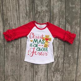 Deutschland Neue Baby-Weihnachtsraglan-Hülsen-T-Shirt Kleinkind scherzt Rotes und Punkt-Rüsche-Spitzen-Mode scherzt Weihnachtshemd supplier kids red christmas shirt Versorgung
