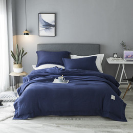 Biancheria da letto grigio argento online-2018New Bedding Sets Simple Lake Blue Striped Bed Sheet Duver Copripiumino Federa Soft Silver Grey King Queen Full Twin