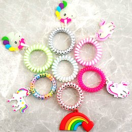 wire hair rubber band Coupons - 20pc Noctilucent Unicorn Rainbow Rubber Telephone Wire Style Hair Ties Plastic ring Hair Band Accessories girl Cartoon rope