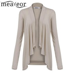 Wholesale Open Sweater For Women - Wholesale- Meaneor Female Cardigan Spring Autumn New Arrival Fashion Long Sleeve Open Front Draped Irregular Sweater For Women Clothes