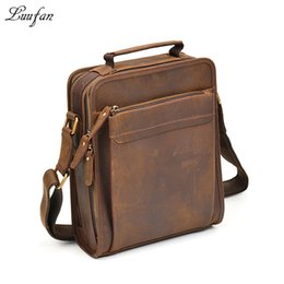 Wholesale horse leather ipad - Mens Crazy horse leather shoulder bag double zipper Vintage genuine leather messenger bag iPad magazine zip around crossbody