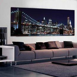 Wholesale new york bridge - 1 Pcs New York Brooklyn Bridge Canvas Prints Painting Night City Landscape Art Picture For Living Room Wall Decor Large Size