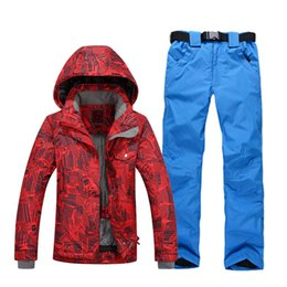 Wholesale Men Snowboard Set - Wholesale- Warm Winter Ski Suit Set Men Windproof Waterproof Skiing Snowboard Suits Set Male Outdoor Ski jacket + Pants Free shipping