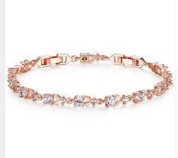 Wholesale Bracelet Link Types - 6 Colors Luxury Rose Gold Color Chain Link Bracelet for Women Ladies Shining AAA Cubic Zircon Crystal Jewelry JIB013