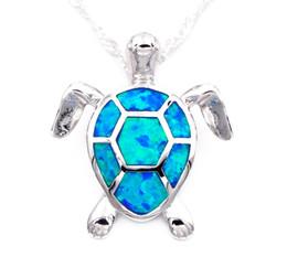 Wholesale Opal Turtle - Cute blue fire opal sea turtle design pendant necklace for women