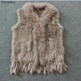 Wholesale knit vest black - Harppihop Free shipping womens natural real rabbit fur vest with raccoon fur collar waistcoat jackets rex rabbit knitted winte
