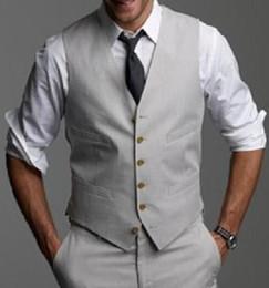 Wholesale Mens Waistcoats Custom - New Light Gray Wedding Groom Vests 2018 Custom Made Slim Fit Normal Mens Waistcoat Vest V016