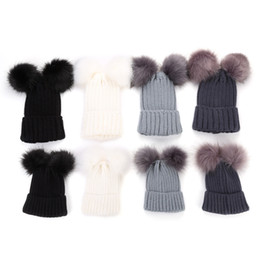 2021 зимний семейный наряд Christmas Knitting Warm Hats With Double Fur Ball Pop Winter Beanie Hats Mom And Baby Family Matching Outfit Newborn Kids Warm Caps HH7-1879