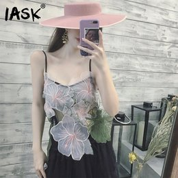 Wholesale Woman Translucent Lace - [IASK] 2018 Spring Summer New Pattern Vest Embroidery Lace Floral Slings Translucent Ladies Fashion Sexy Camis BC020