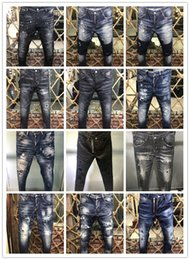 Wholesale White Skinny Jeans Long - 2018 New Men's Denim Jean Embroidery Brand Pants Holes Jeans Button Male Pants Trousers New A173~A176