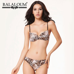 7aefe059a82 wholesale Sexy Leopard Print Push Up Bra Brief Sets T-shirt Bra Women  Lingerie Set Seamless Comfortable Underwear For Ladies