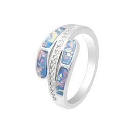 Wholesale Fairy Stone Jewelry - whole saleHainon Elegant Opal Finger Rings For Women Fairy Blue Stone Silver Plated Ring Set Trendy Romantic Jewelry For Engagement