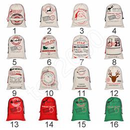 sac de sacs gros Promotion Grand sac de sac de toile de Noël Monogrammable Santa Claus Sac de cordon avec des rennes monogrammé Cadeaux de sac de sac