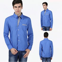 Wholesale Men S Double Collar Shirts - Men Shirt Spring New Brand Business Men's Slim Fit Dress Shirt Male Long Sleeves Casual Shirt Camisa Masculina Size S-4XL