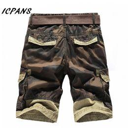 Wholesale Mens Army Camo Cargo Pants - Summer mens shorts camo Multi Pocket Cargo Casual Short Pants breeches Army Khaki Tactical mens shorts summer Plus Size
