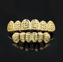 Wholesale Hip Hop Teeth - Hip Hop Personality Fangs Teeth Gold Silver Rose Gold Teeth Grillz Gold False Teeth Sets Vampire Grills For women men Dental Grills Jewelry