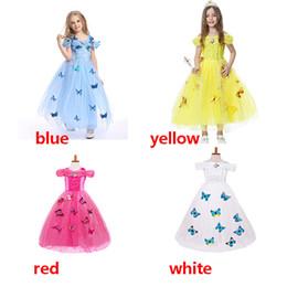 Diamantes extravagantes on-line-Crianças Cosplay Costumes Princess Dress floco de neve de diamantes borboleta Fancy Dresses Azul branco do vestido de Halloween Girl Dress HH-A13