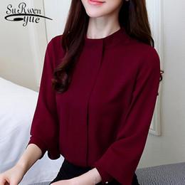 Neue Mode 2018 Frauen Bluse Shirt Langarm plus Größe Frauen Kleidung rot  Büro Dame Shirt weibliche Tops Blusas D208 30 damen rote blusen shirts  Angebote d83e4e1582