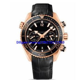 Planeta oceano ouro on-line-Relógios de atacado - Luxo Mens Quartz Chronograph Relógios Casuais Swiss Rose Gold 18 K Mar Planeta Oceano Co-Axial 600 M data Homens Moda Leathe