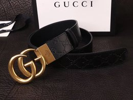 Wholesale European Size 46 - Fashion hot Striped Double Buckle Men Designer f Belts European Style High Brand waistbands High Quality Real Leather girdle with box