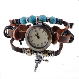 Wholesale Ladies Vintage Gold Watches - TOP turquoise vintage Genuine Leather Bracelet Watch Women Lady Indian Charm Retro wristwatch Roman women watch slip band