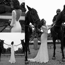 Wholesale Simple Garden Sheath Wedding Dress - Liz Martinez Romantic 2018 Lace Mermaid Wedding Dresses with mandarin Sleeves Bridal Backless Garden Wedding Dresses Bridal Gowns Custom