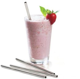 Wholesale Metal Drink - Juice straw 200X Eco-Friendly Straight Metal Drinking Straw Stainless Steel Reusable Straws For Beer Fruit Juice Drink