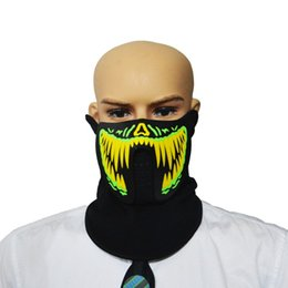 Wholesale glowing clothes - LED Masks Clothing Big Terror Masks Cold Light Helmet Fire Halloween Festival Party Glowing Dance Steady On Driver