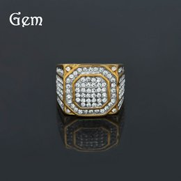 Wholesale Mens Rings Stones - 18k Gold AAA Cubic Zirconia Ring for Women Men Silver Punk Rock Mens Rings Drop Shipping Big Hiphop Ring for Mens Jewelry