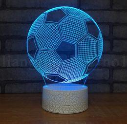 Wholesale remote table - 3D LED Night Football Soccer Lighting Lamp Desk Table 7 Color Change Foodball Fan Night Light Remote Home Decor Lamp KKA5524