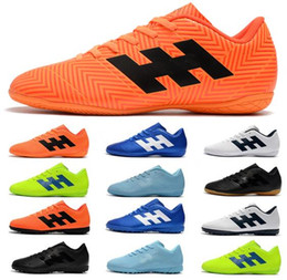 zapatos baratos messi Rebajas Envío gratis 2018 Messi World Cup zapatos de fútbol para hombre X Tango 18.4 IC TF Nemeziz Tacos de fútbol Barato interior Crampones de fútbol botas