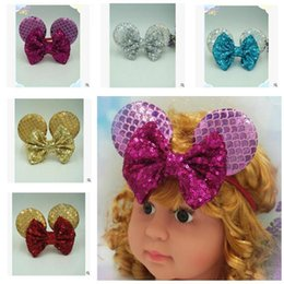Wholesale Yellow Headbands For Children - Baby Girl Sequins Hairband Bow Children Hair Wear for Kids Head Band Flower Headband Baby Hair Accessories 6 Colors DHL Free Shipping