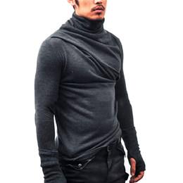 Hombres capucha cuello pulgar agujero puños camiseta de manga larga camiseta casual Tortuga cuello Silm Fit camiseta hip hop streetwear desde fabricantes