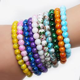 Wholesale Stretch Glass Bracelets - whole saleFashion Handmade Gorgeous Mixed Colorful Elastic Stretch Glass Spacer Beads Charms Bracelets For Women Men Jewelry Bangles Gifts