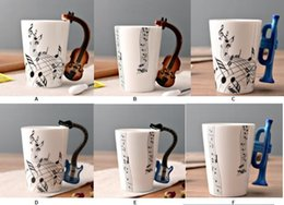 Wholesale Novelty Mug Gift - Novelty Guitar Ceramic Cup Personality Music Note Milk Juice Lemon Mug Coffee Tea Cup Home Office Drinkware Unique Gift