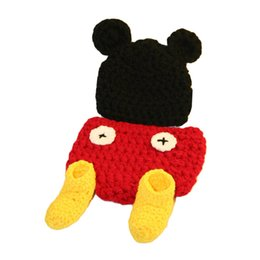 Wholesale crochet mouse - Baby Girls Boys Toddler Infant Photography Props Handmade Crochet Black Mouse Hat + Red Diaper Cover + Yellow Shoes